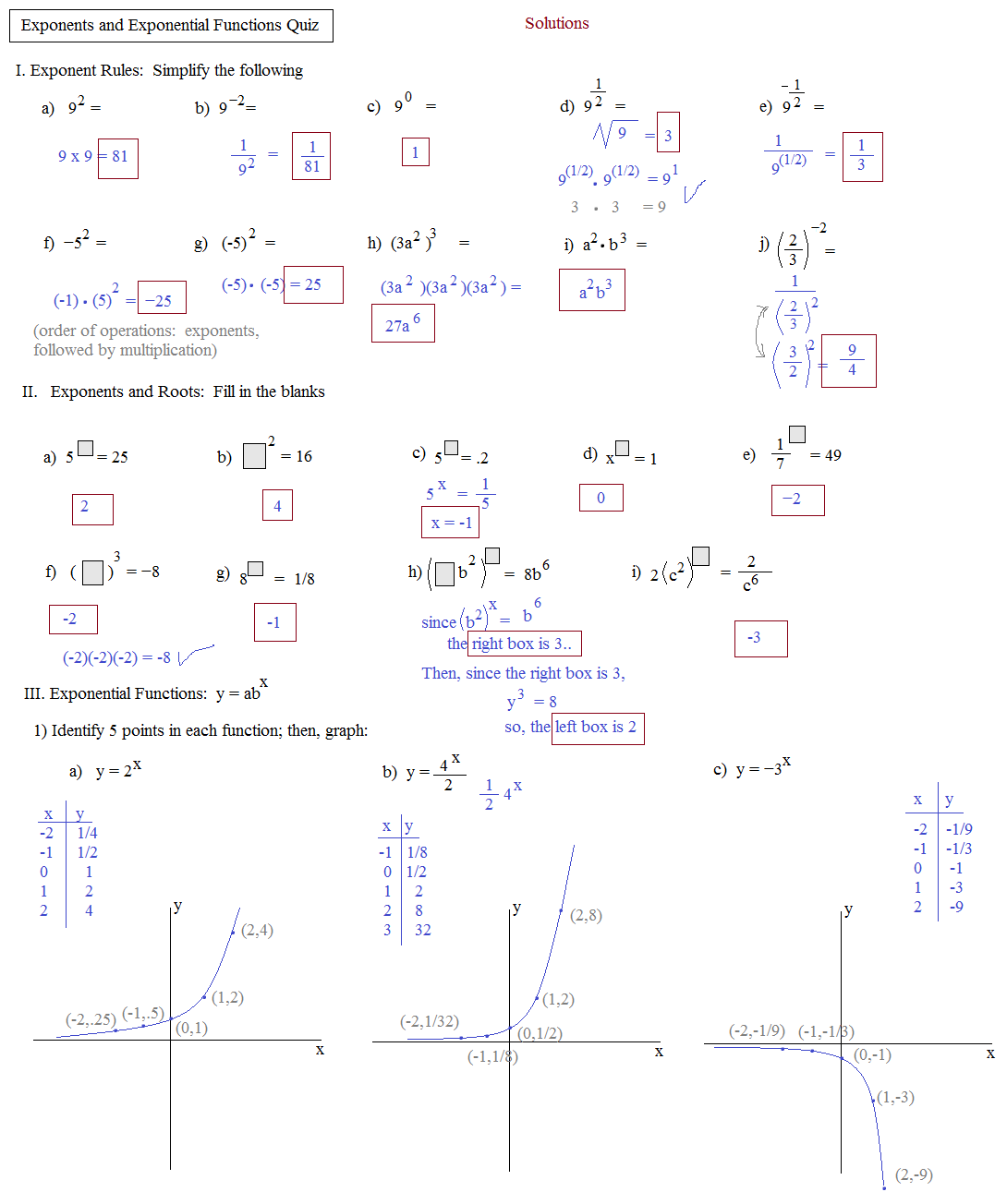 Complete The Function Table For Each Equation Answer Key