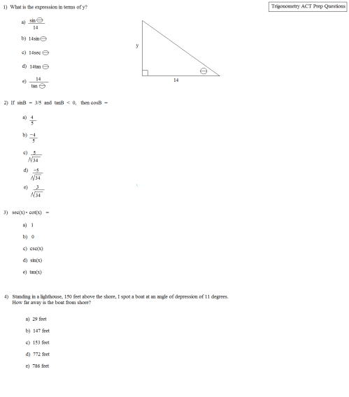 small resolution of Math Plane - ACT Trigonometry Practice Questions
