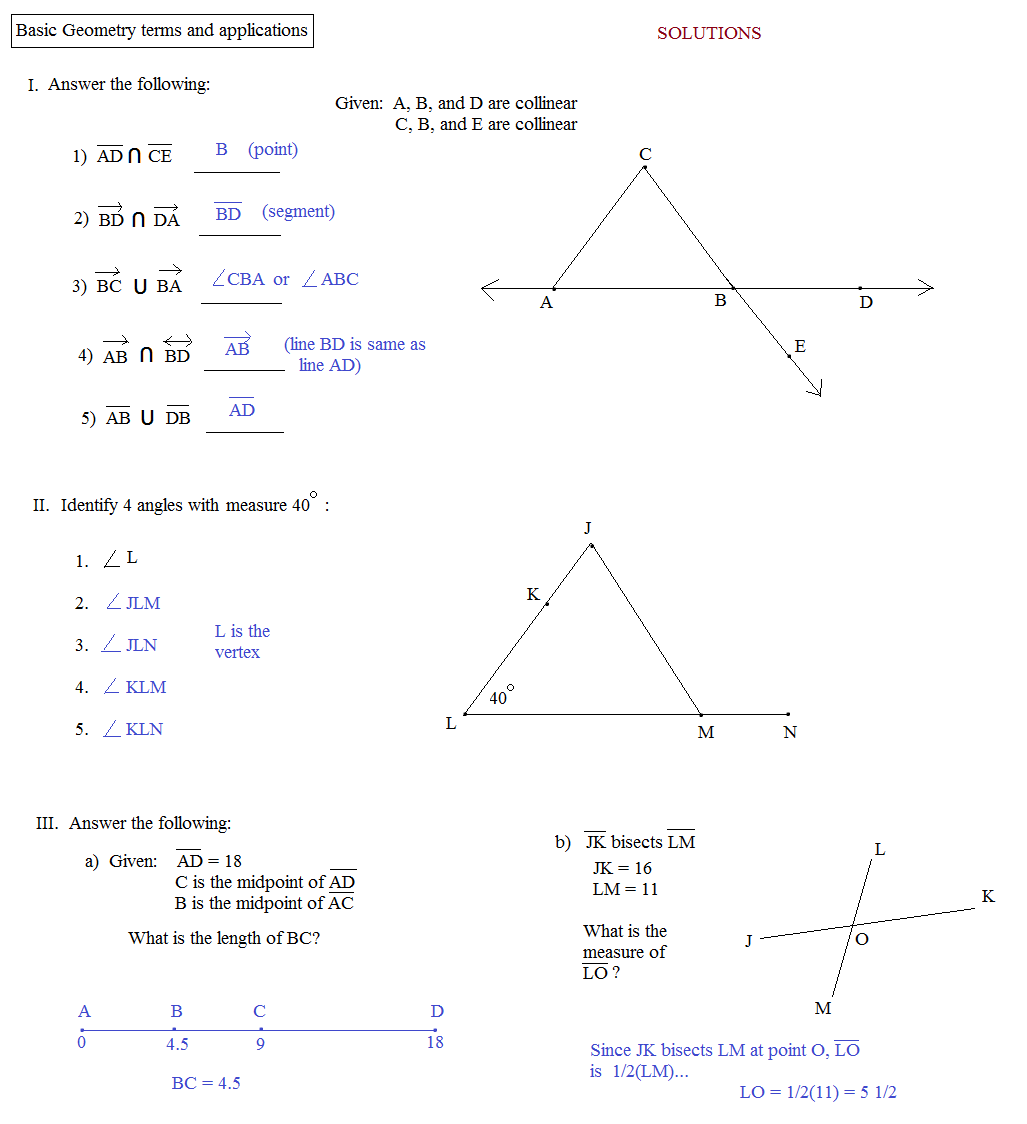 Printables Basic Geometry Worksheets Mywcct Thousands Of