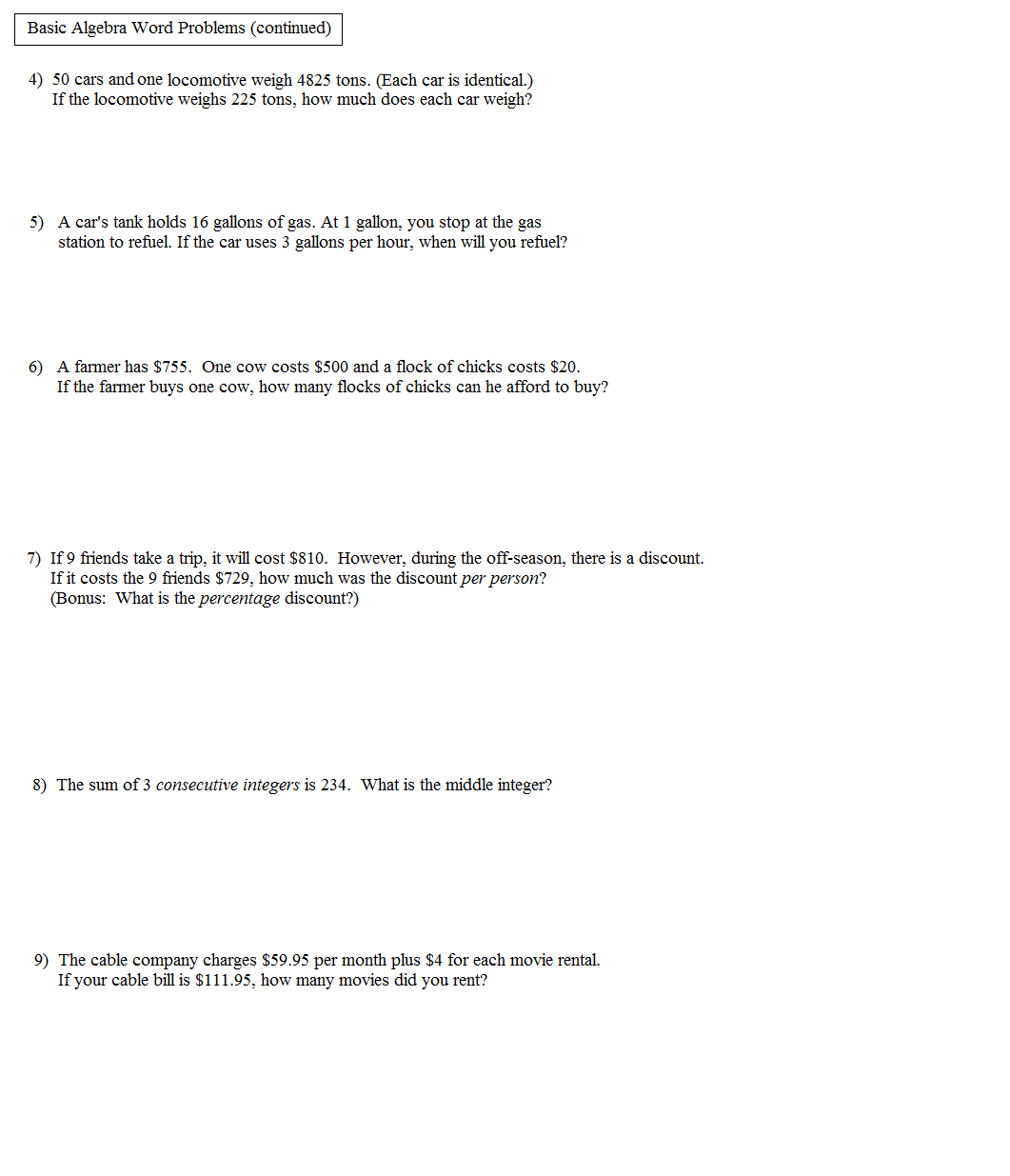 System Of Equations Word Problems Worksheet Algebra 1