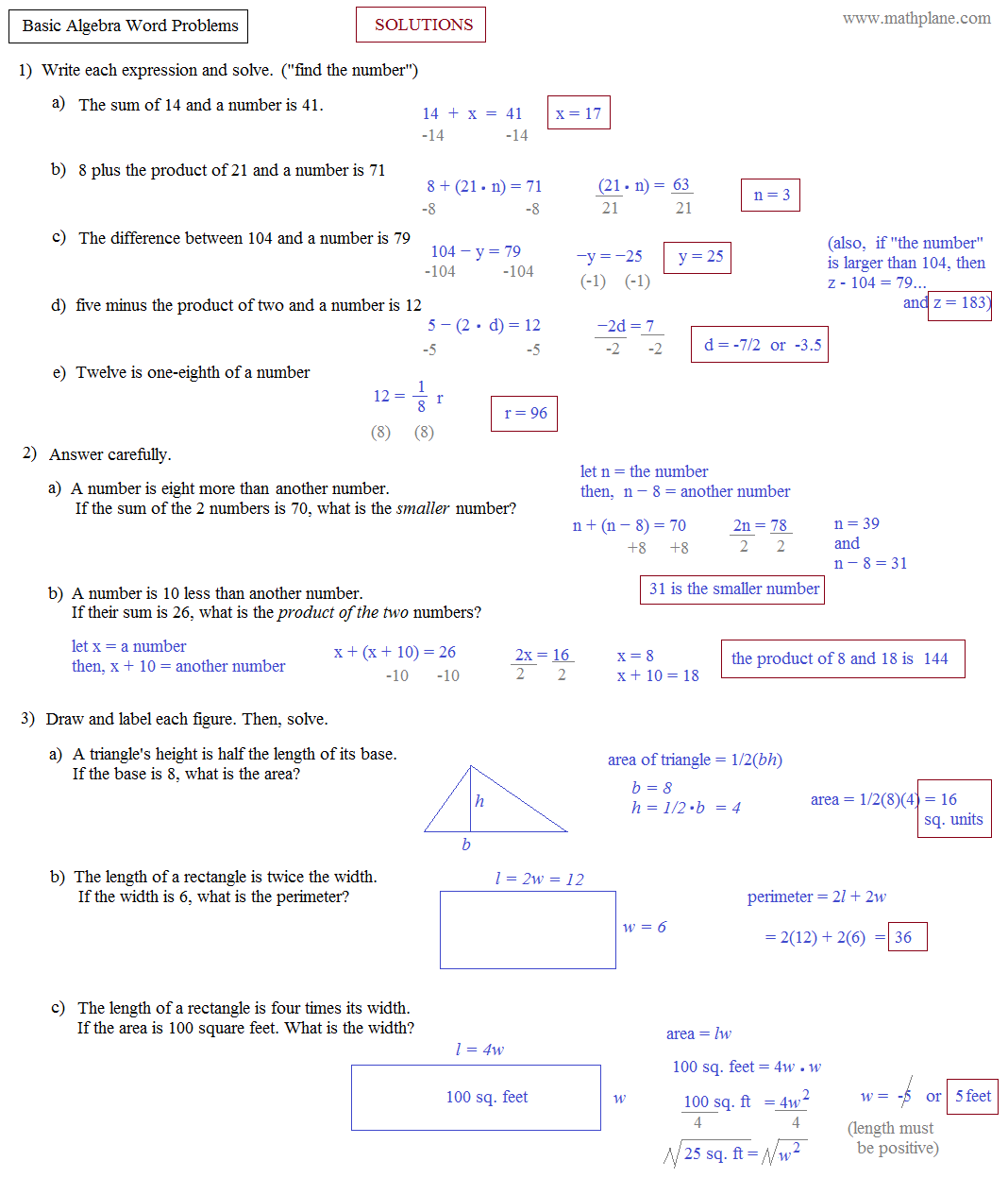 Solving Equation Word Problems Worksheet