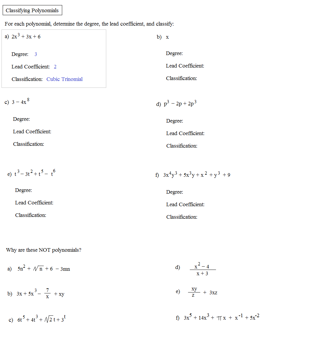 Printables. Classifying Polynomials Worksheet