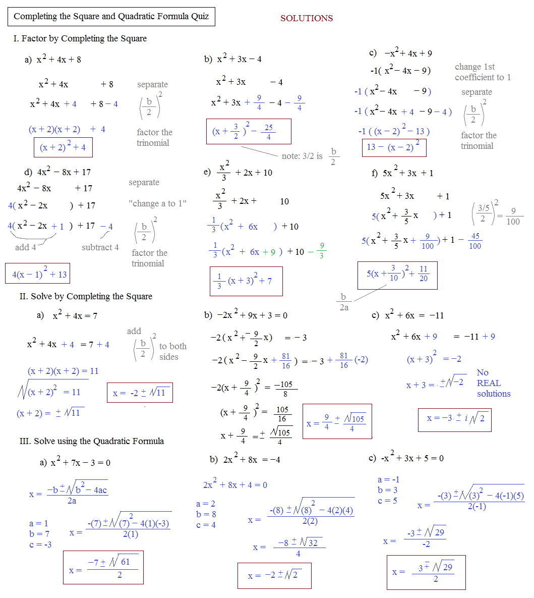 Simple Quadratic Formula Worksheet