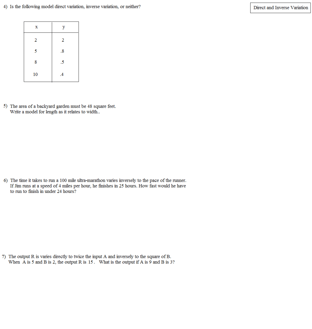 medium resolution of Math Direct And Inverse Proportion Worksheet   Printable Worksheets and  Activities for Teachers