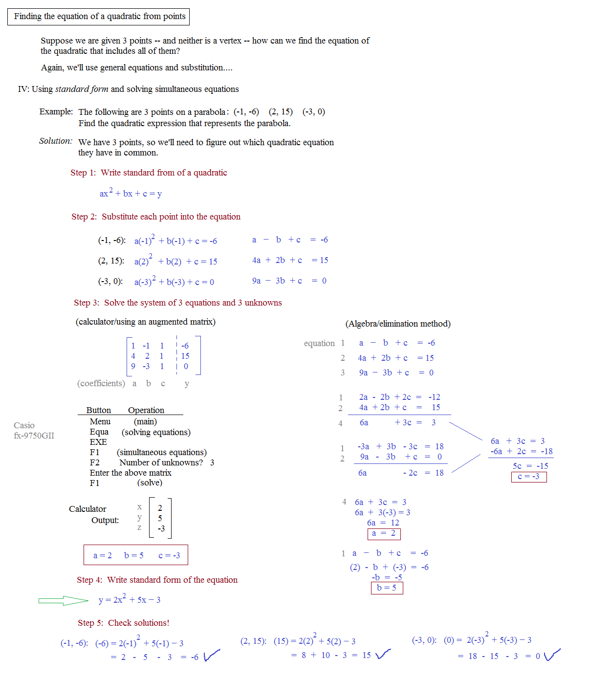 Equation Of Parabola Given 3 Points