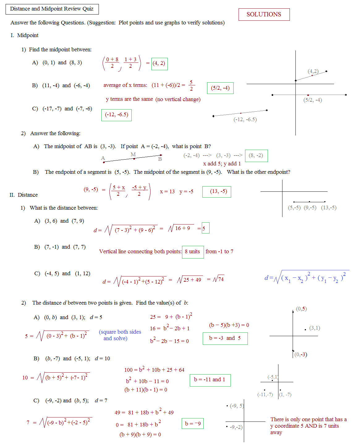Coordinate Plane Distances Worksheet Answers