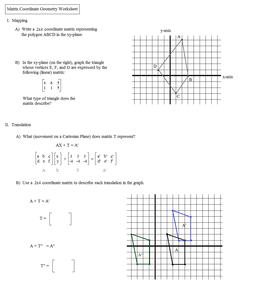 worksheet. Translations Reflections And Rotations