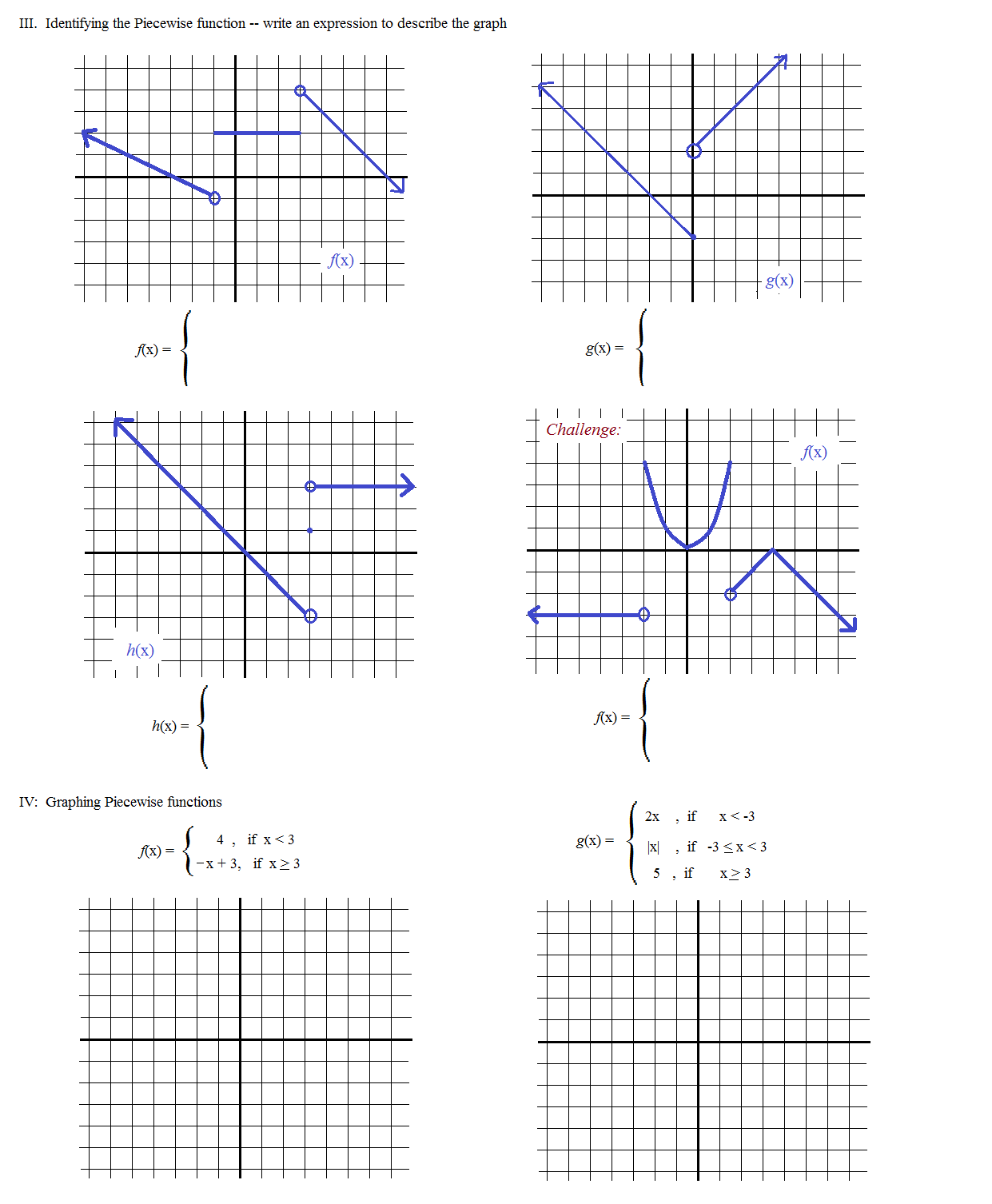Worksheet Writing Equations Of Piecewise Functions