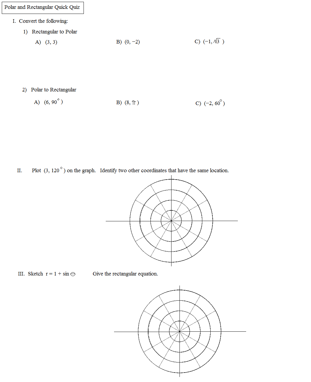 Worksheets Polar Coordinates Worksheet