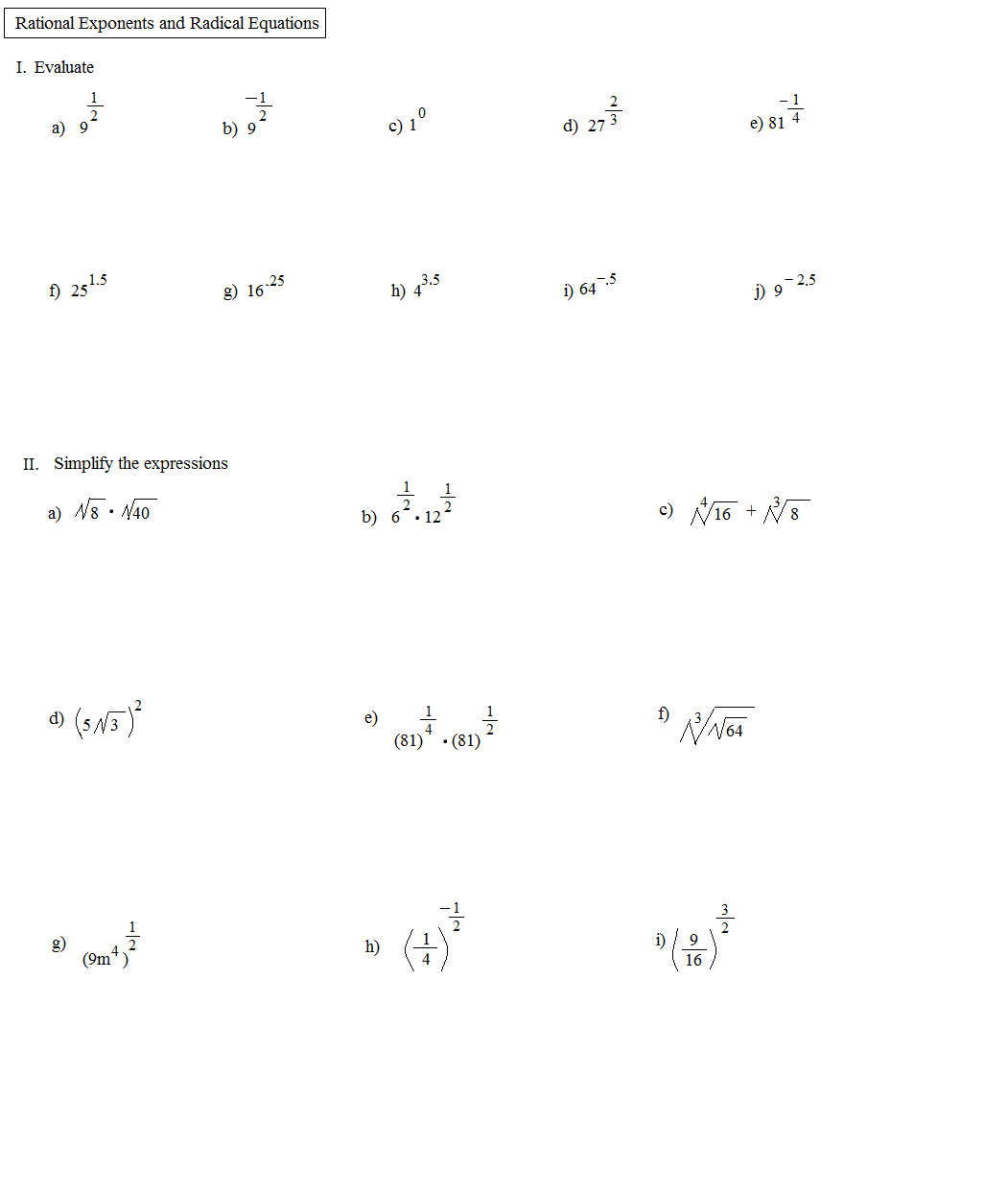34 Radicals And Rational Exponents Worksheet
