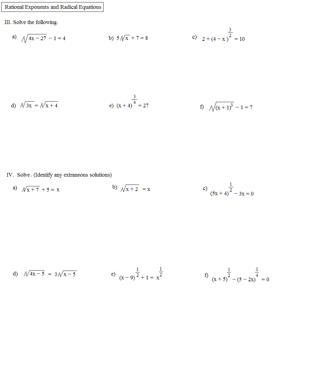 Solving Rational Exponent Equations Worksheet Answers