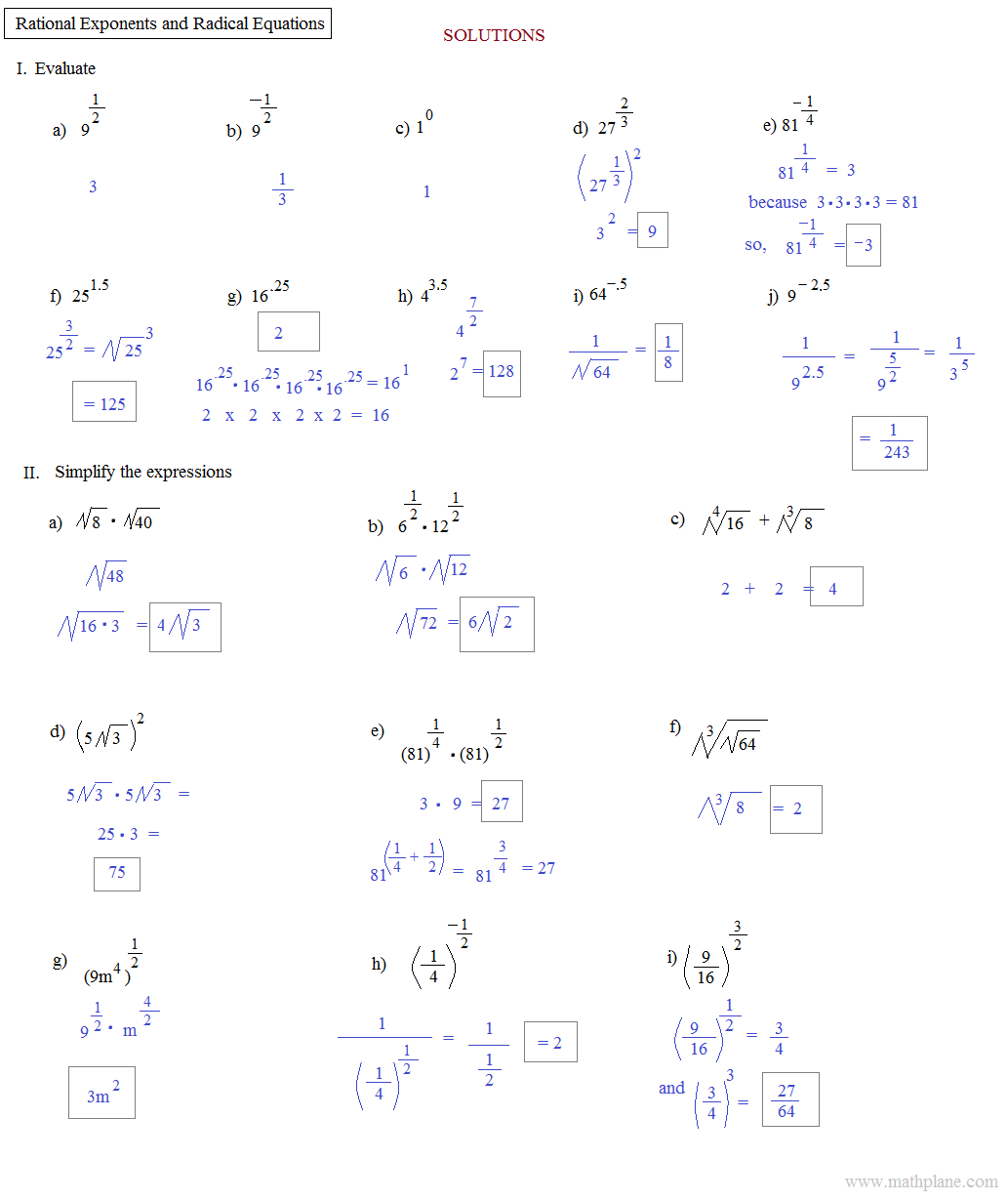 Free Worksheet On Rational Exponents