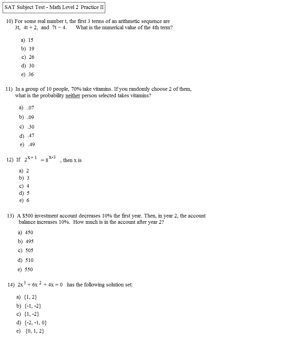 Solving Equations Practice Test