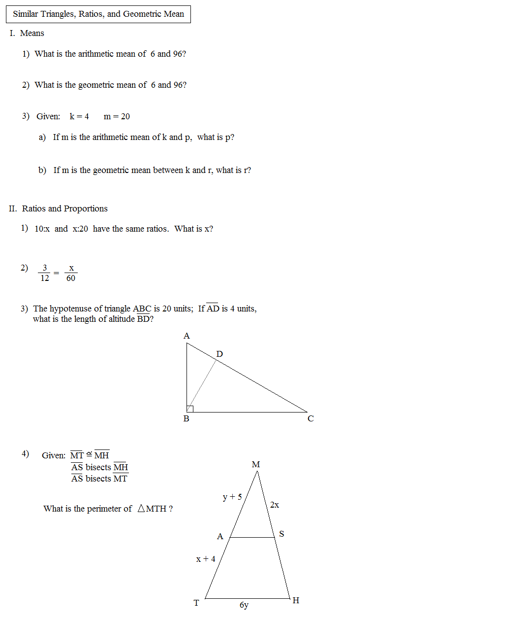hight resolution of Math Plane - Similar Triangles \u0026 Ratios