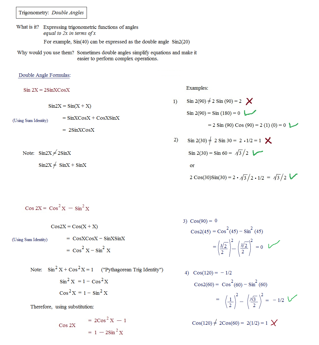 27 Double Angle Identities Worksheet