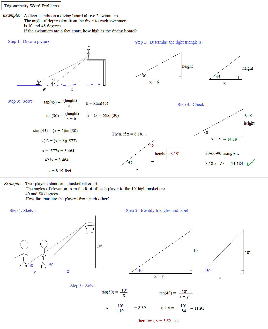 26 Trig Word Problems Worksheet Answers