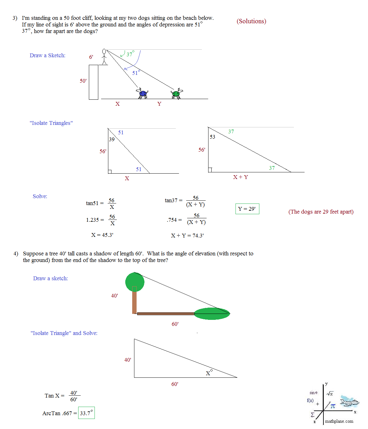 Solving Right Triangles Word Problems Worksheet