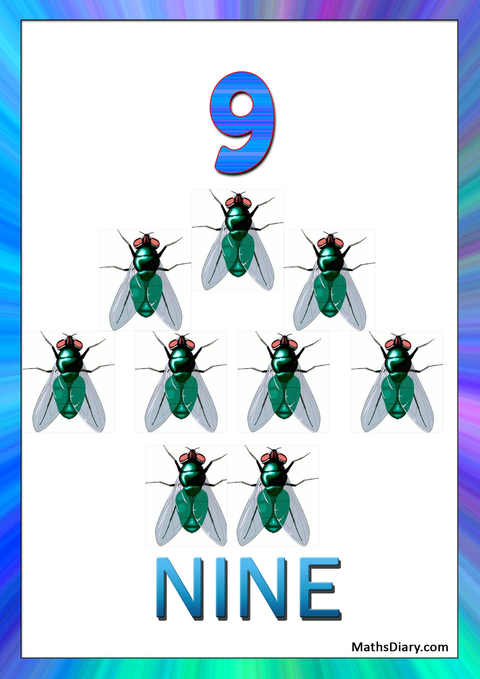 Learning Counting And Recognition Of Number 9 Worksheets
