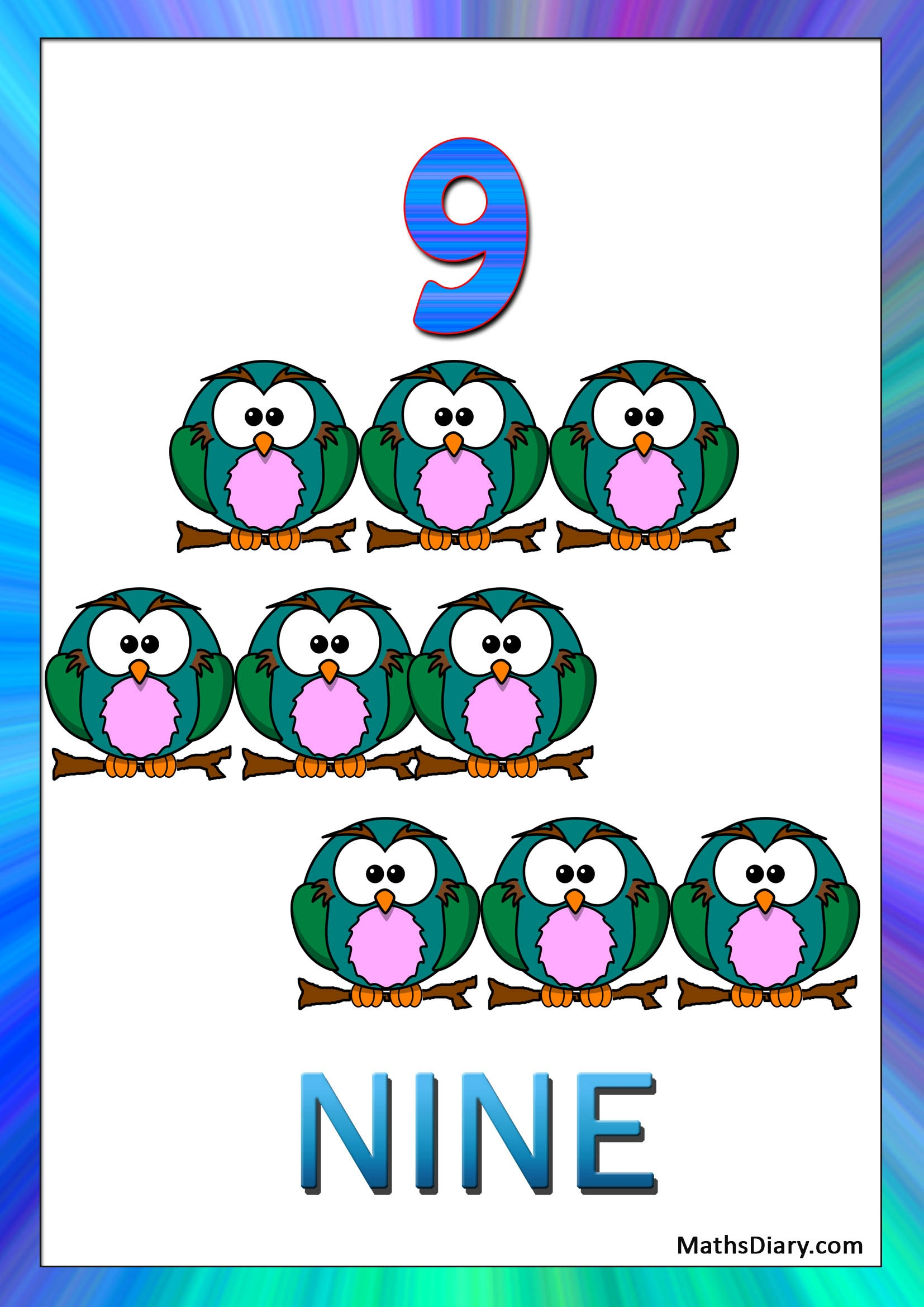 Learning Counting And Recognition Of Number 9 Worksheets Level 1 Help Sheets Part 3