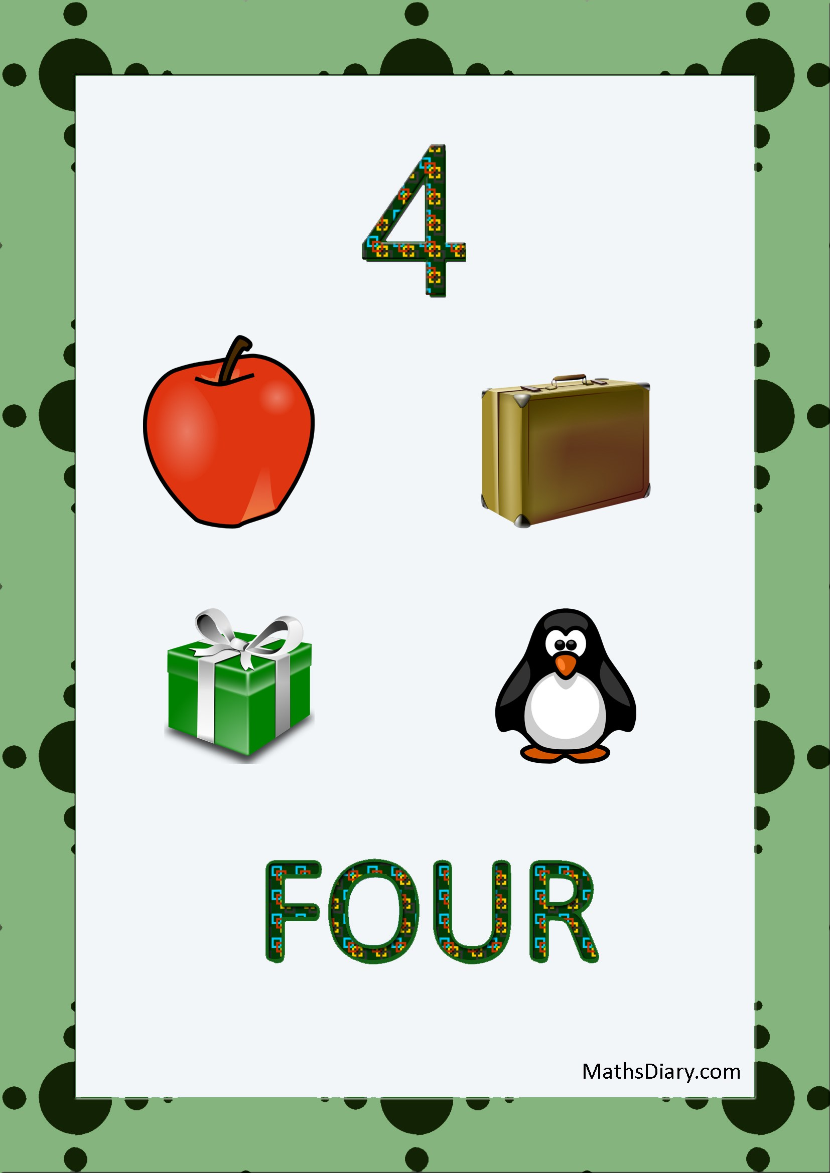 Learning Counting And Recognition Of Number 4 Level 3