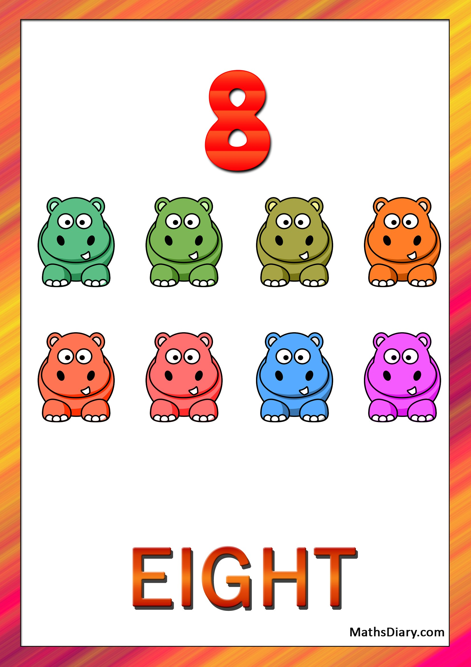 Learning Counting And Recognition Of Number 8 Level 2 Worksheets