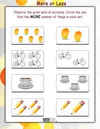 Math Worksheets For Kindergarten More Or Less | www.imgkid ...