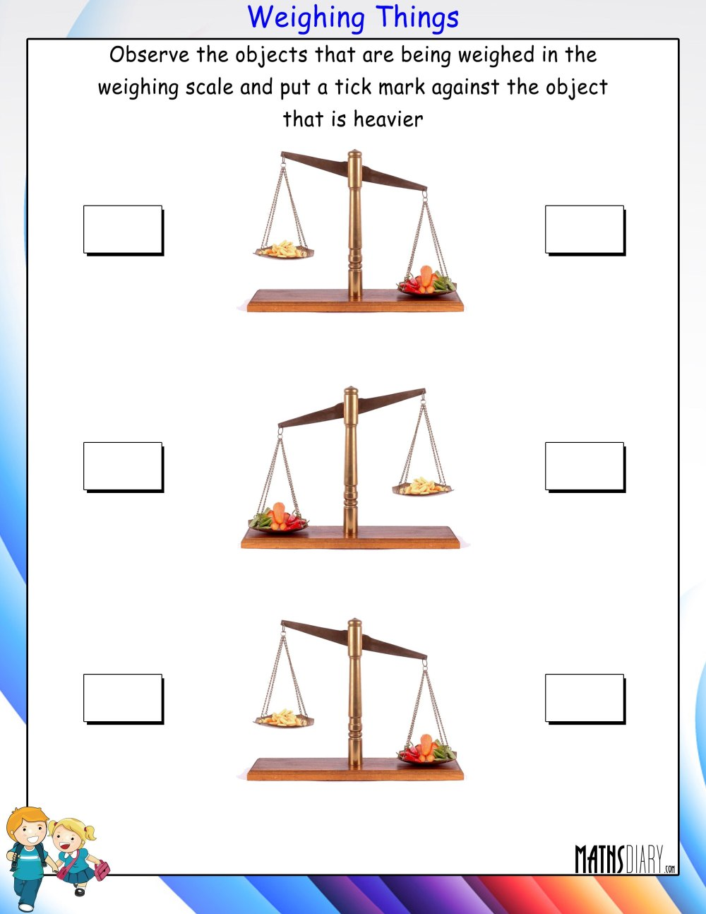 medium resolution of Weighing Objects - Math Worksheets - MathsDiary.com