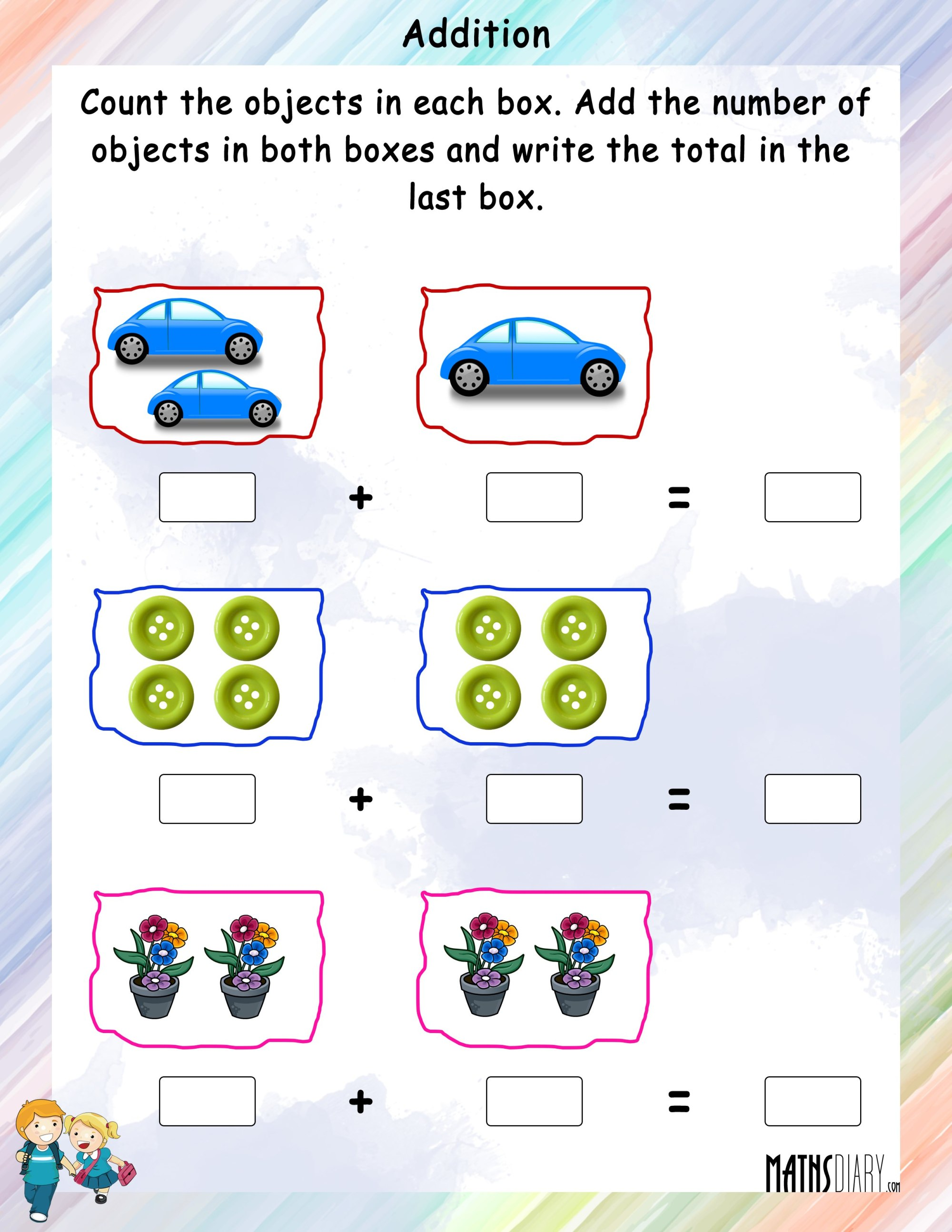 hight resolution of Addition of Objects - Math Worksheets - MathsDiary.com