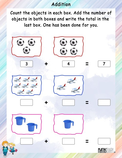 small resolution of Addition of Objects - Math Worksheets - MathsDiary.com