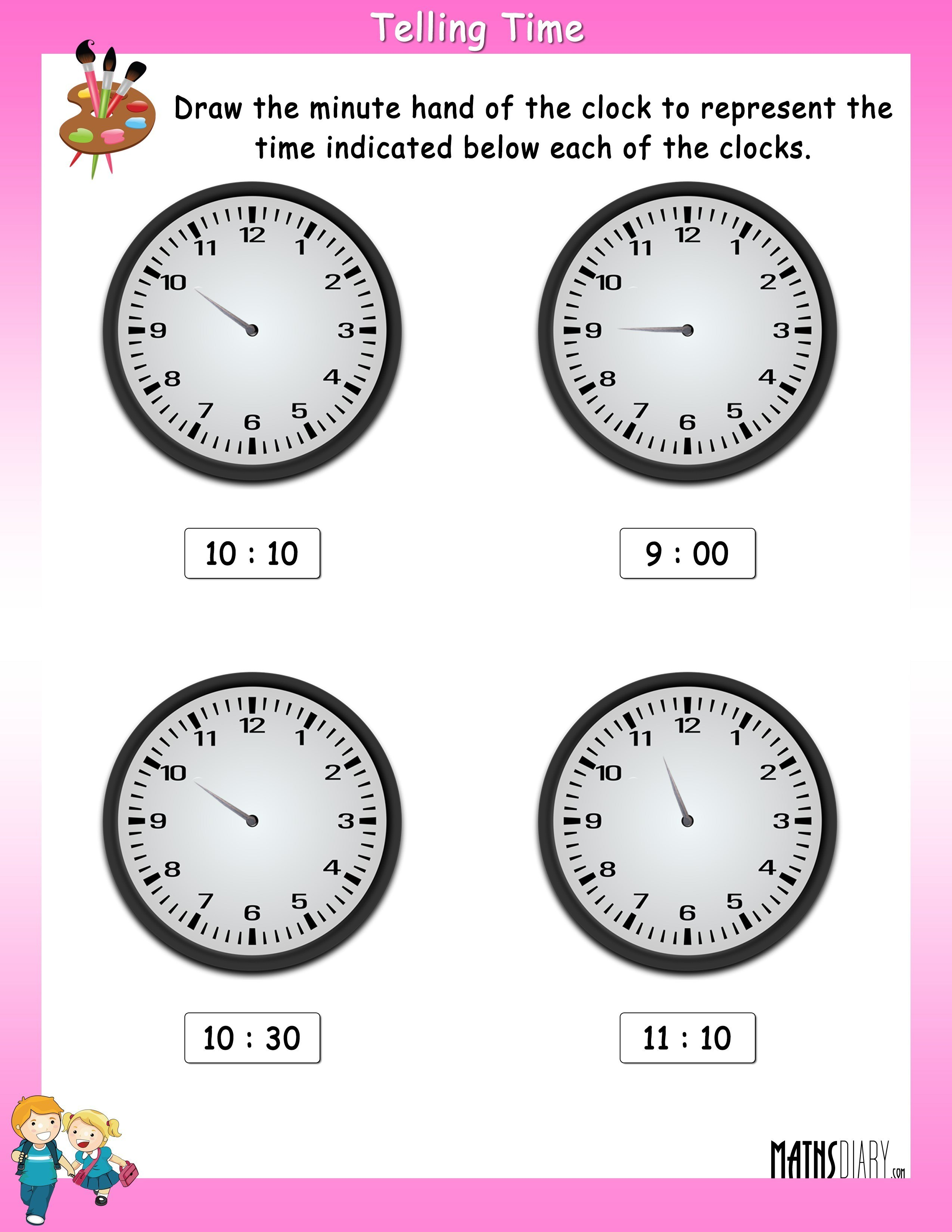 Draw The Minute Hand On The Clock To Represent The Time