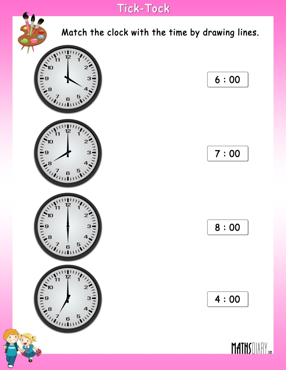 medium resolution of Match the Clock with the Time - Math Worksheets - MathsDiary.com