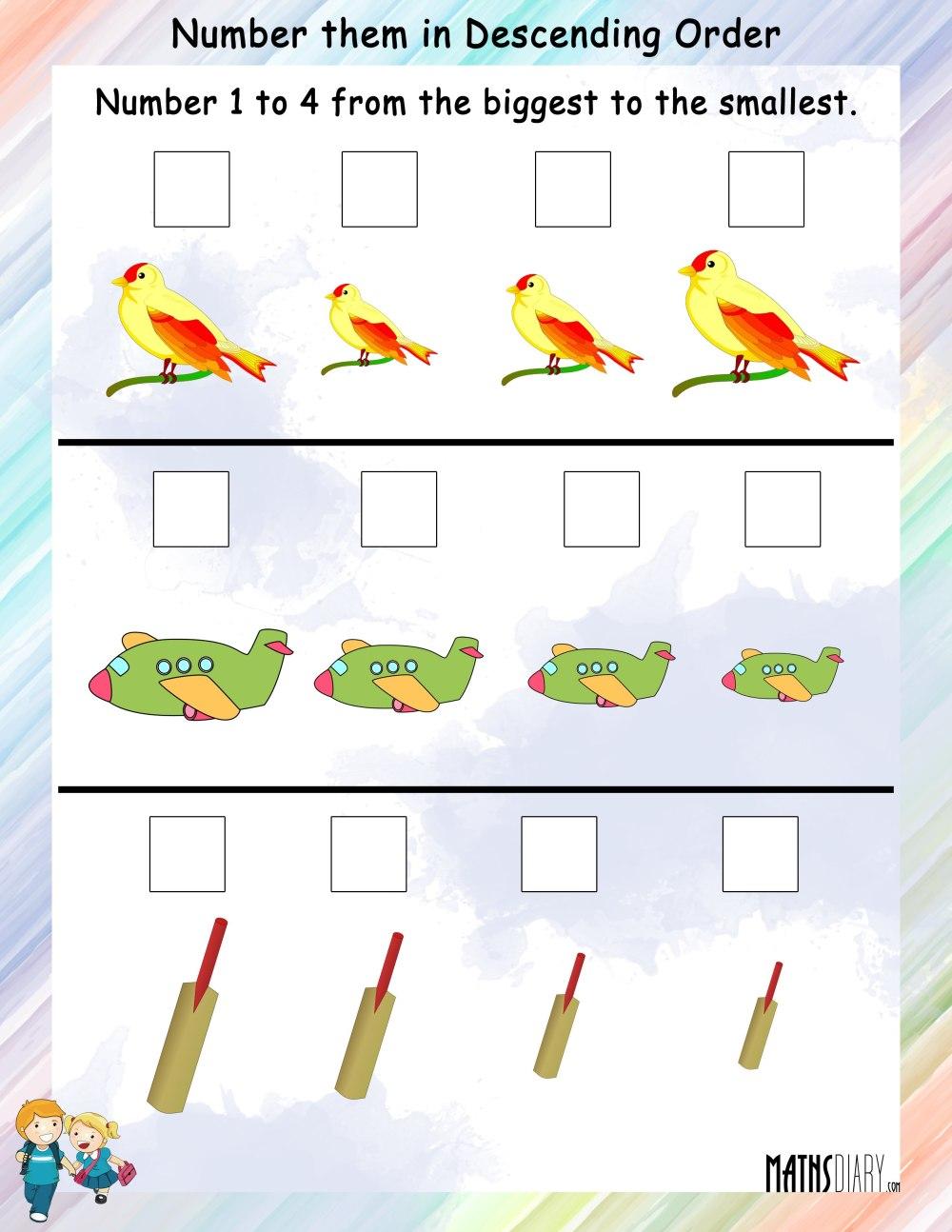 medium resolution of Numbering in Descending Order - Math Worksheets - MathsDiary.com