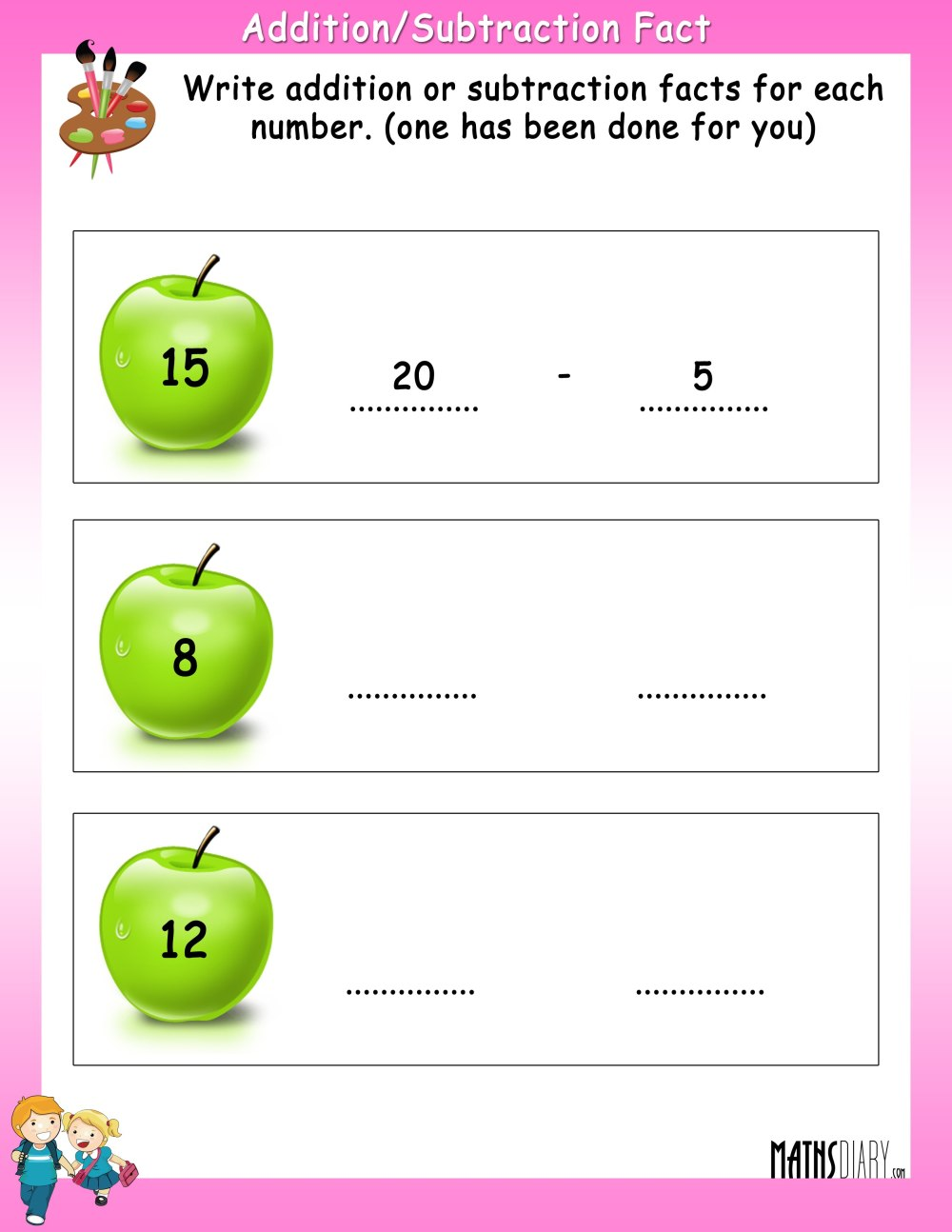 medium resolution of Write Addition or Subtraction fact for each number - Math Worksheets -  MathsDiary.com
