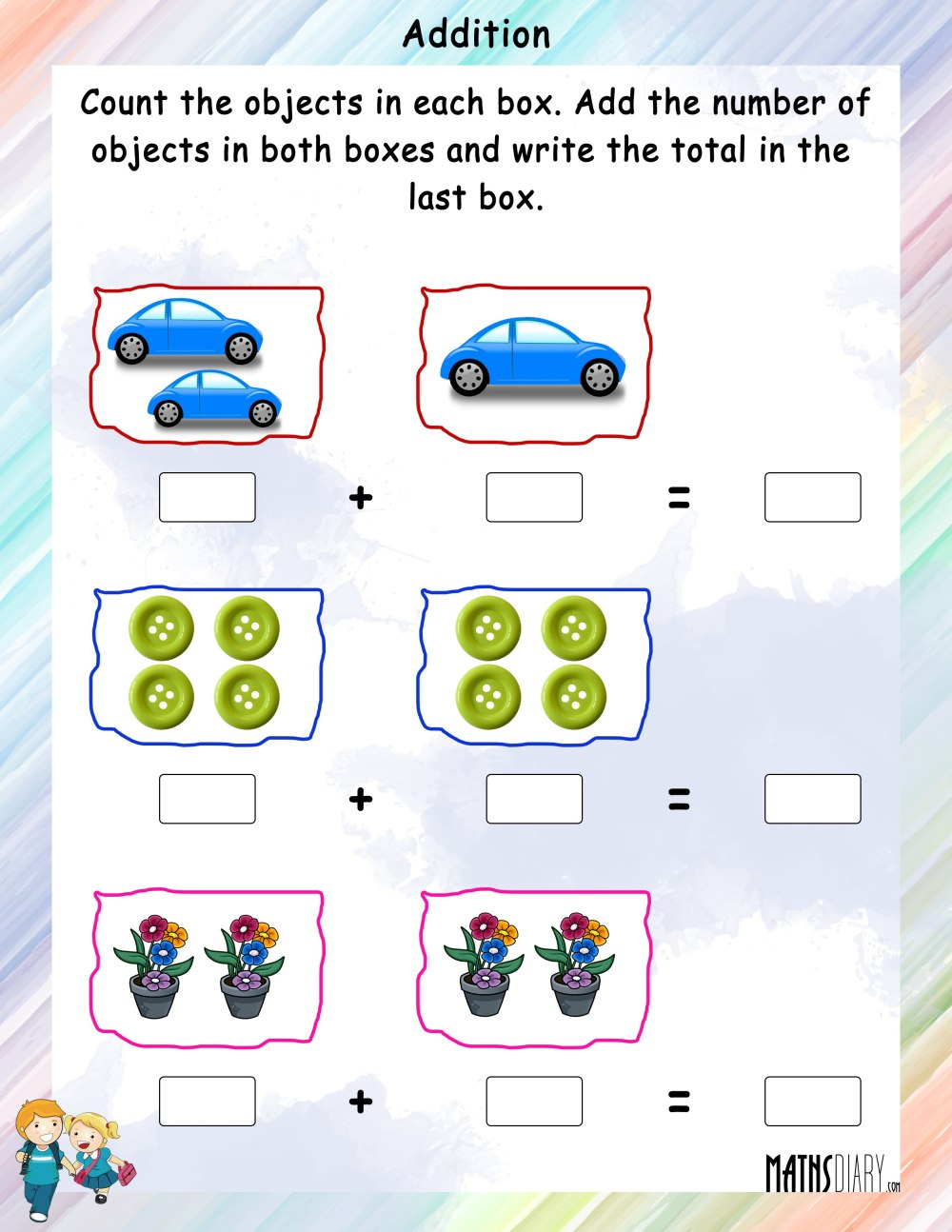 medium resolution of Addition Of Objects - Math Worksheets - MathsDiary.com