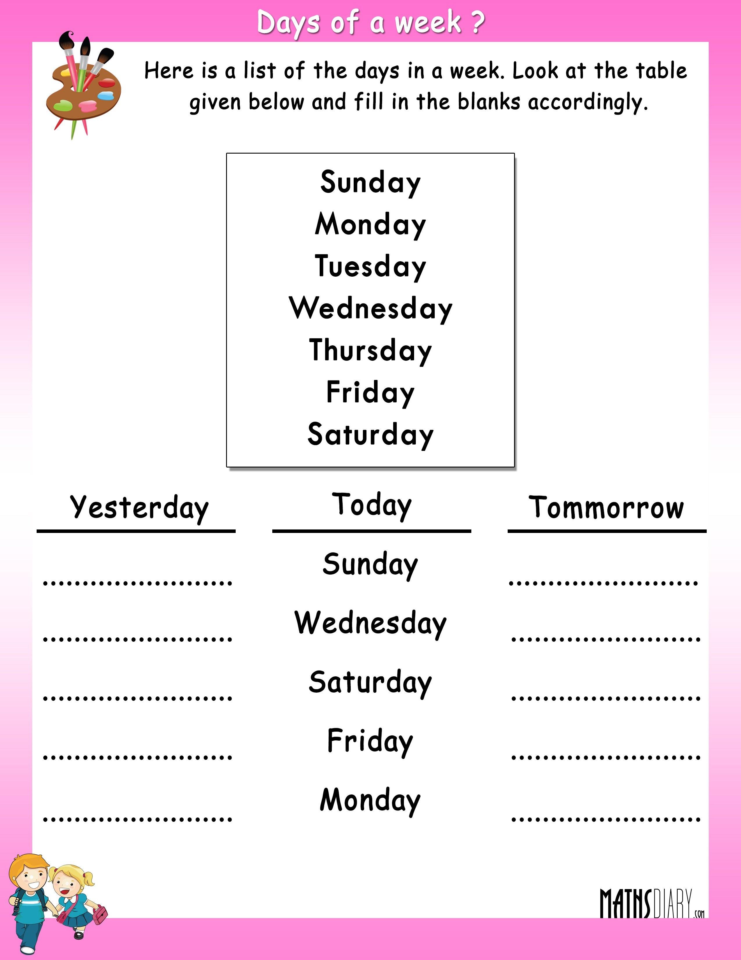 Time Ukg Math Worksheets