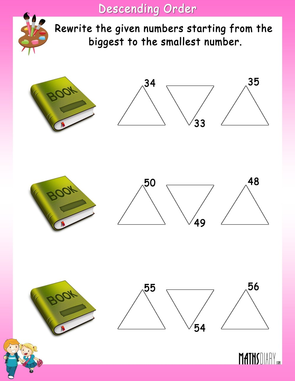 medium resolution of Rewrite in Descending Order - Math Worksheets - MathsDiary.com