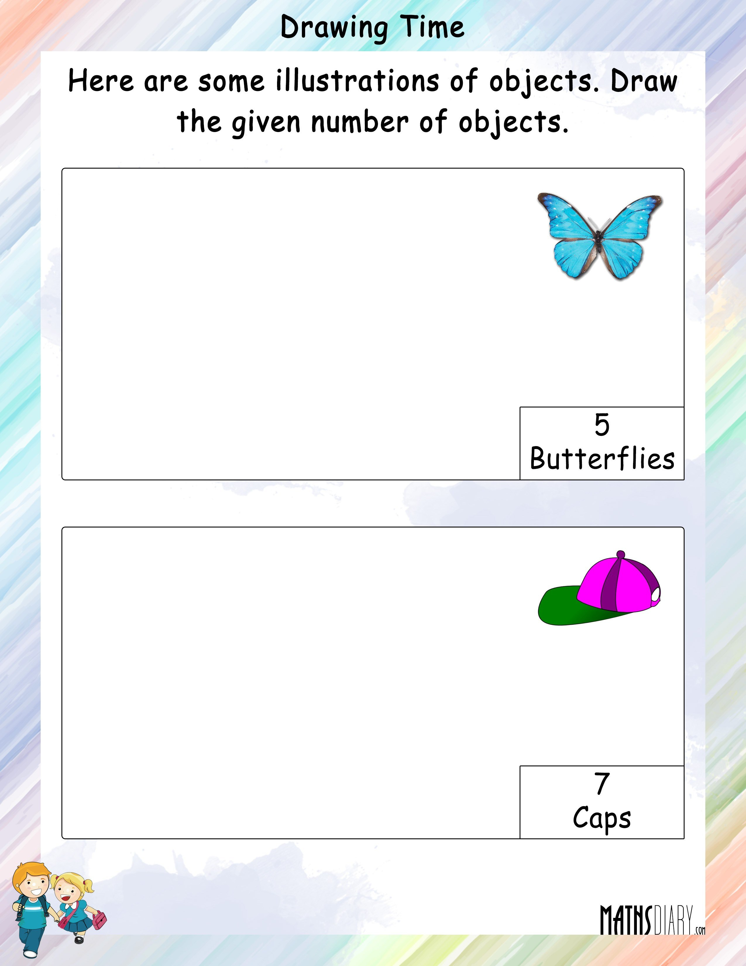 Draw And Color The Asked Number Of Objects