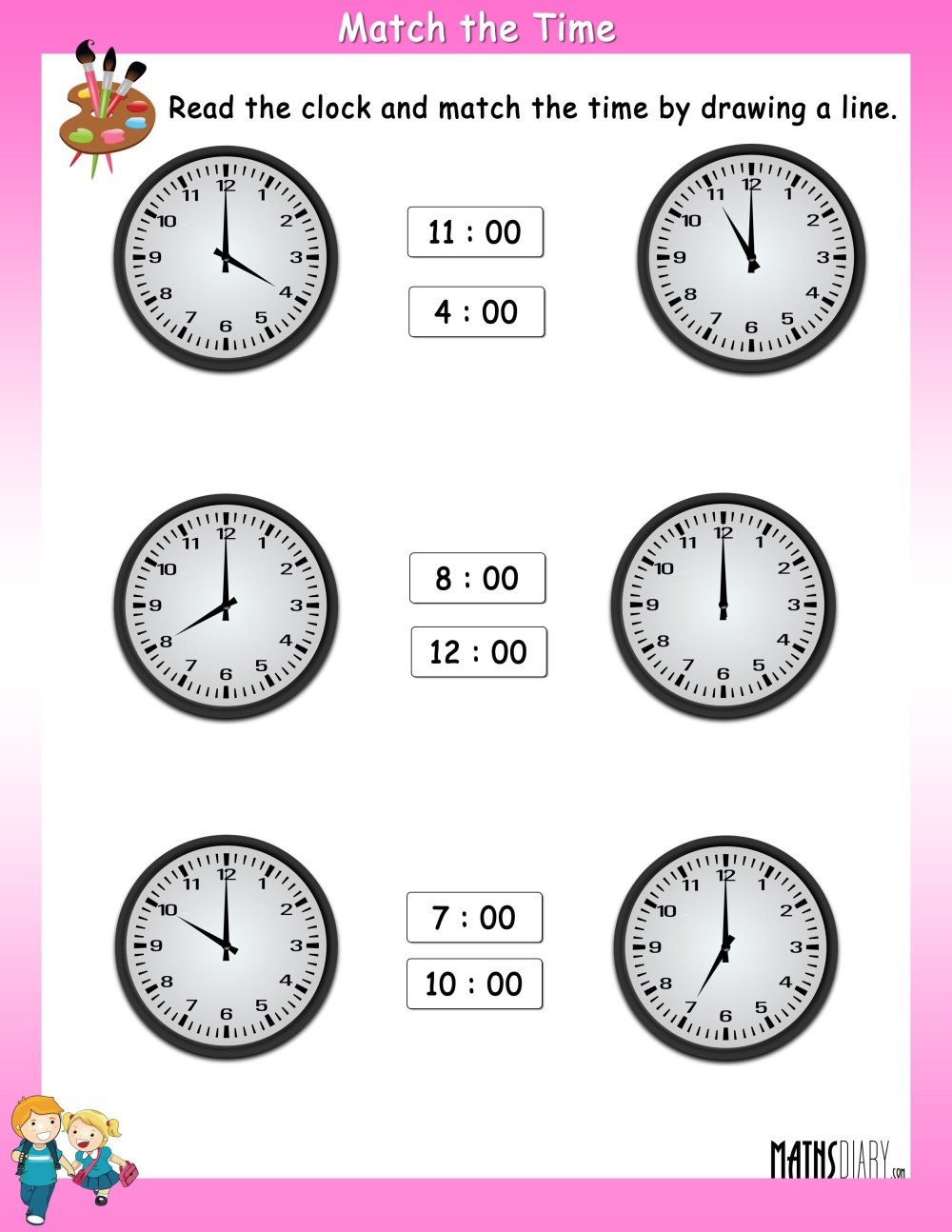 medium resolution of Read the clock and match with the given time – Worksheets - Math Worksheets  - MathsDiary.com