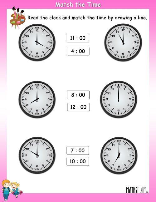 small resolution of Read the clock and match with the given time – Worksheets - Math Worksheets  - MathsDiary.com
