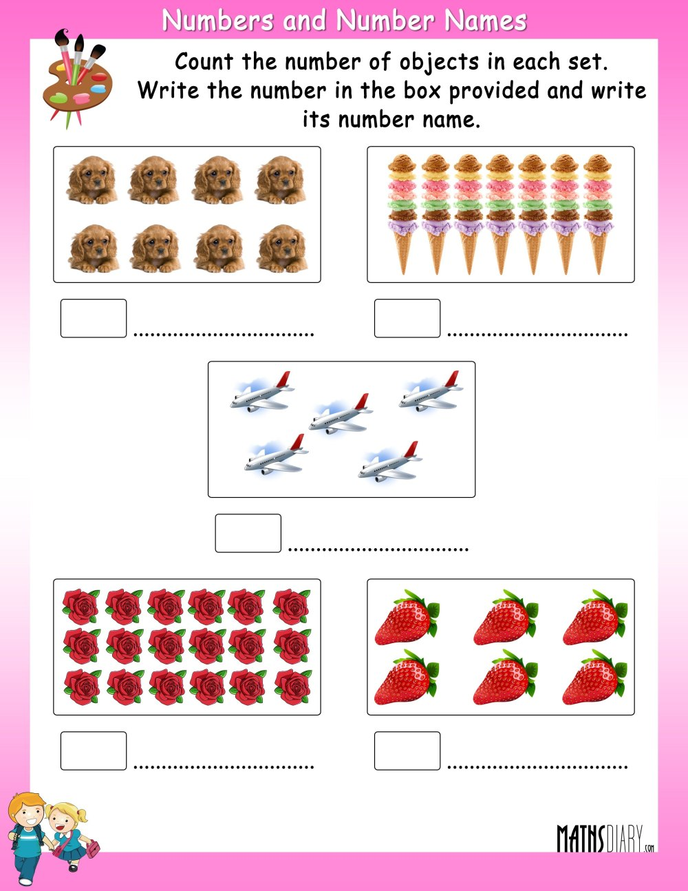 medium resolution of Count the objects in each set and write its number and number name-  Worksheets - Math Worksheets - MathsDiary.com