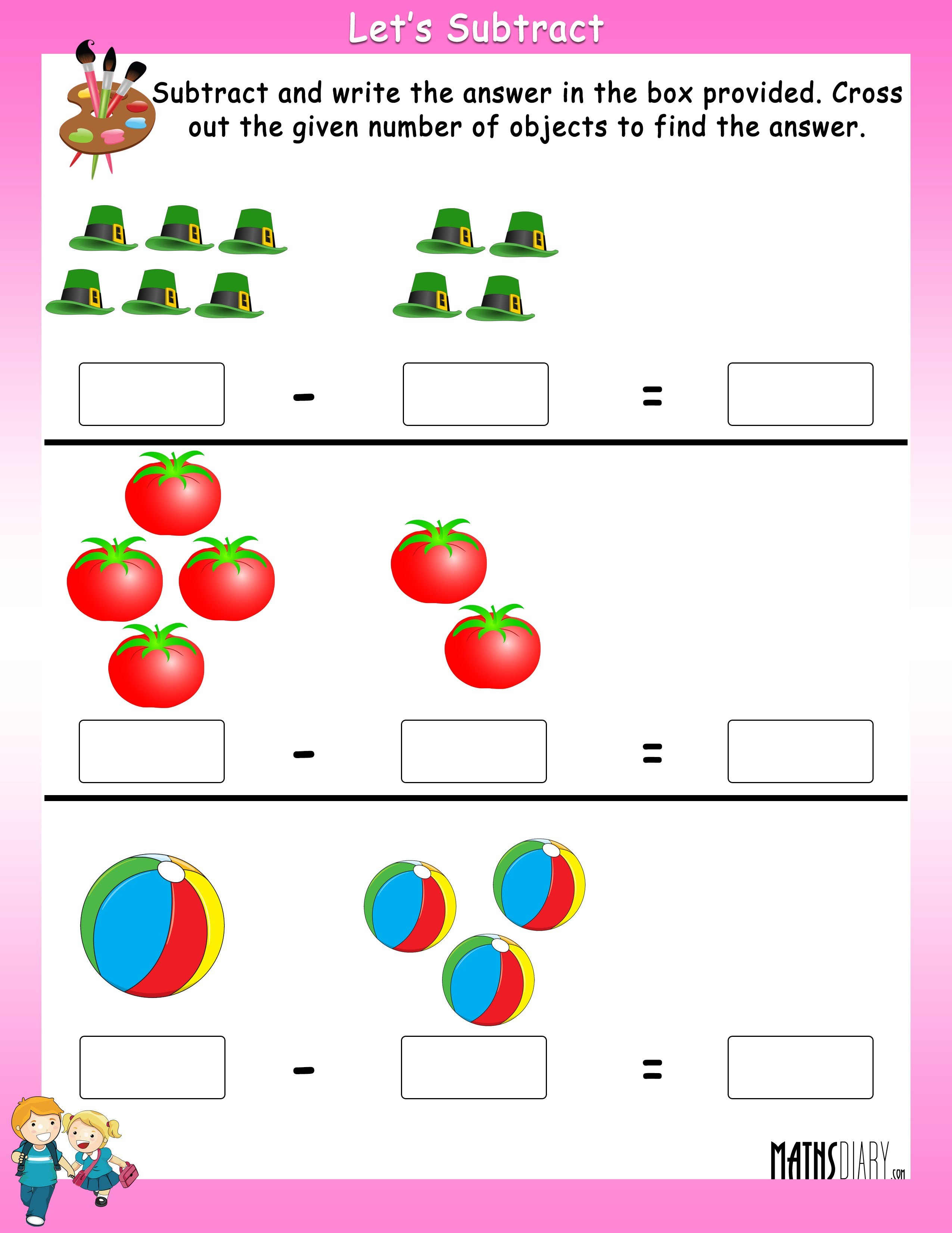 Blank Math Worksheet Subtraction