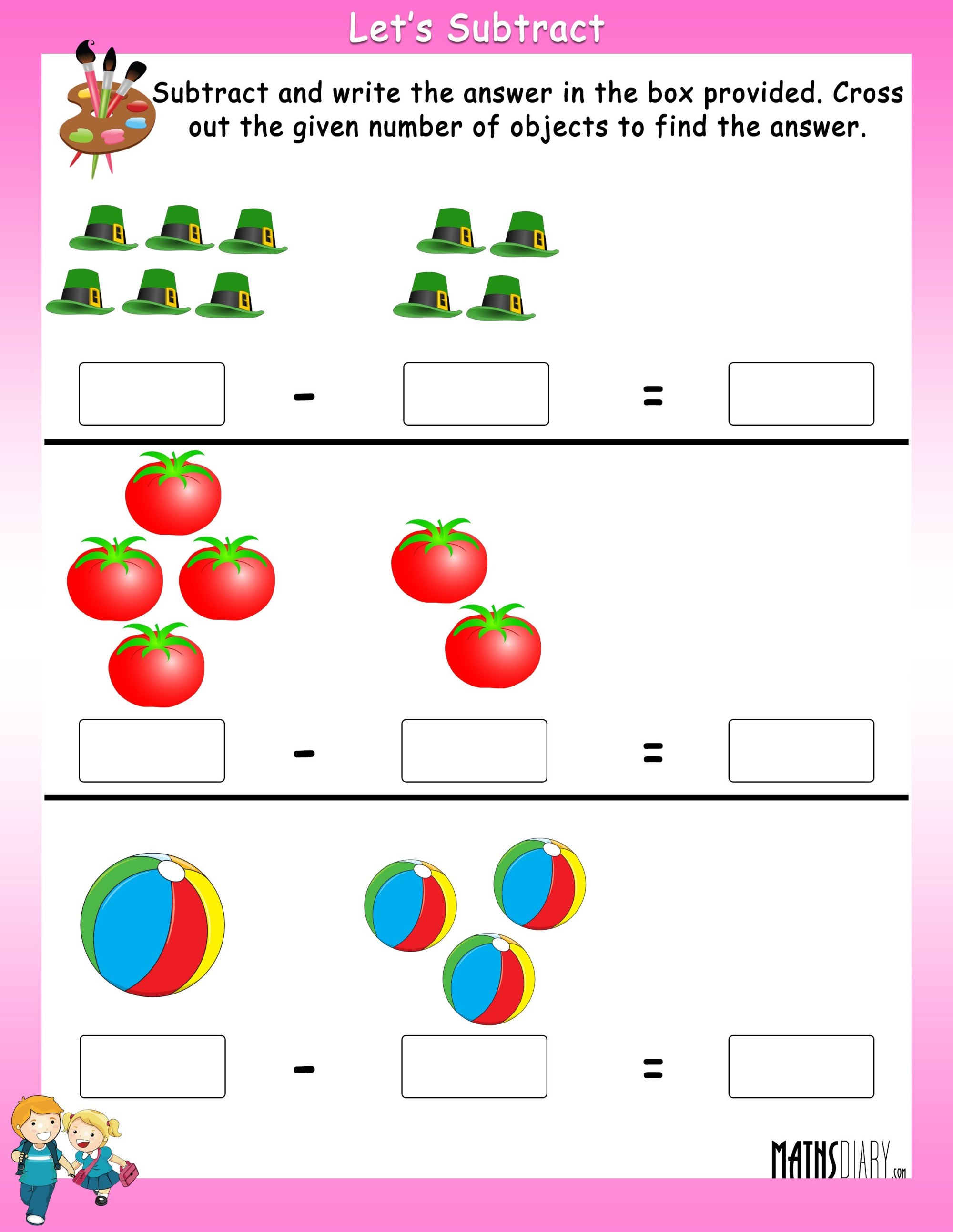 hight resolution of Subtract by crossing the objects worksheets - Math Worksheets -  MathsDiary.com