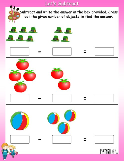 small resolution of Subtract by crossing the objects worksheets - Math Worksheets -  MathsDiary.com