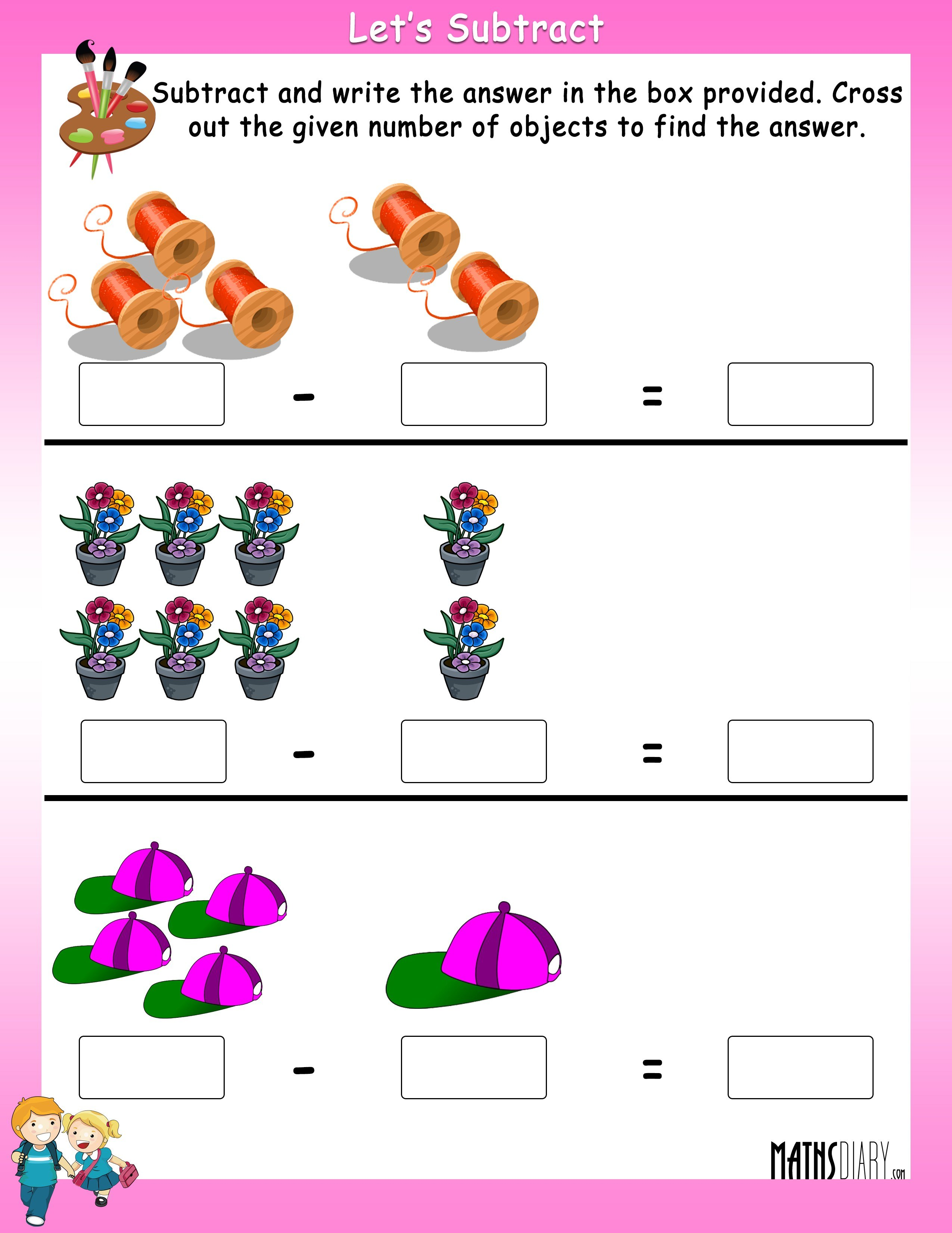 Subtract By Crossing The Objects Worksheets