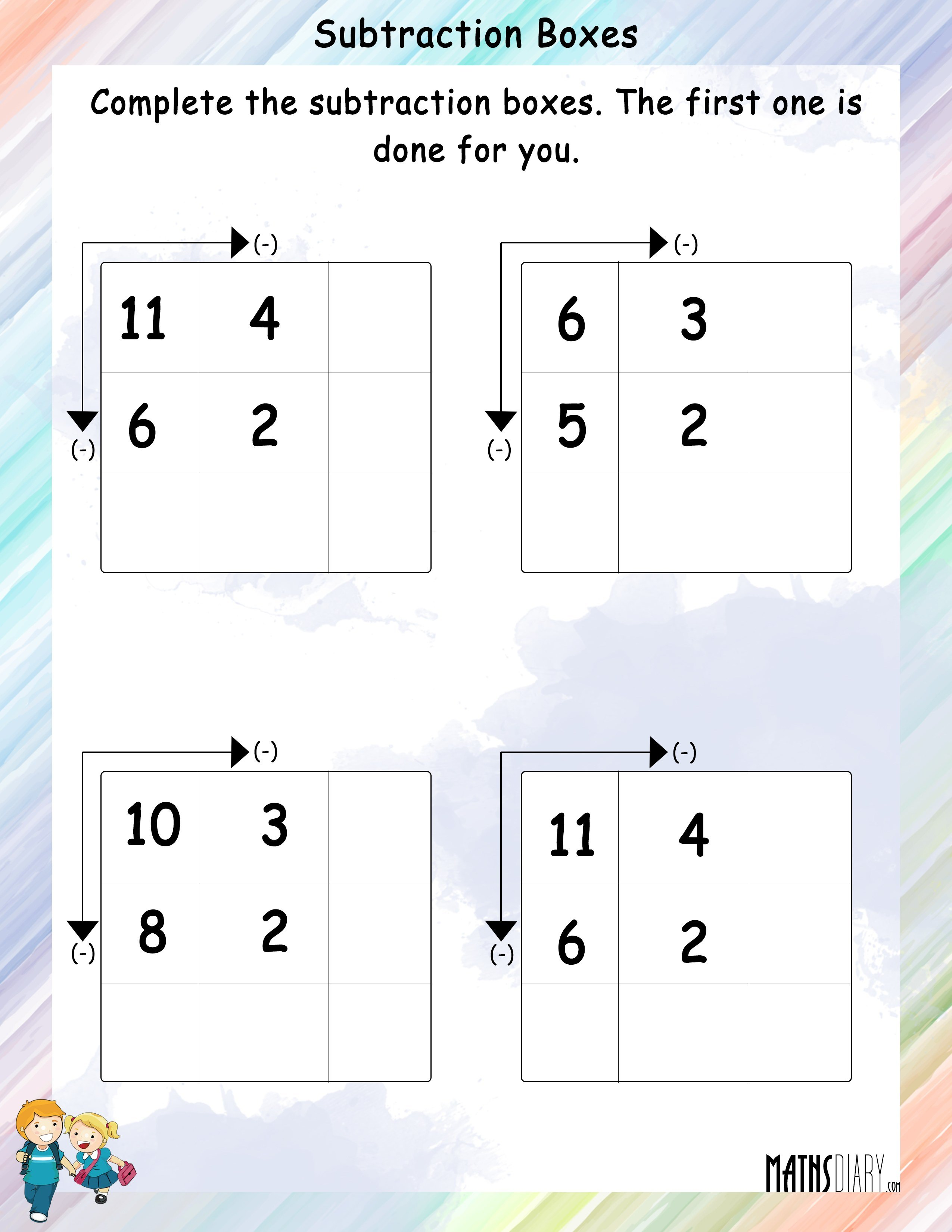 Complete The Subtraction Boxes