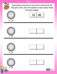 Time  Grade 1 Math Worksheets - Page 2