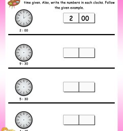 Time – Grade 1 Math Worksheets - Page 2 [ 3300 x 2550 Pixel ]