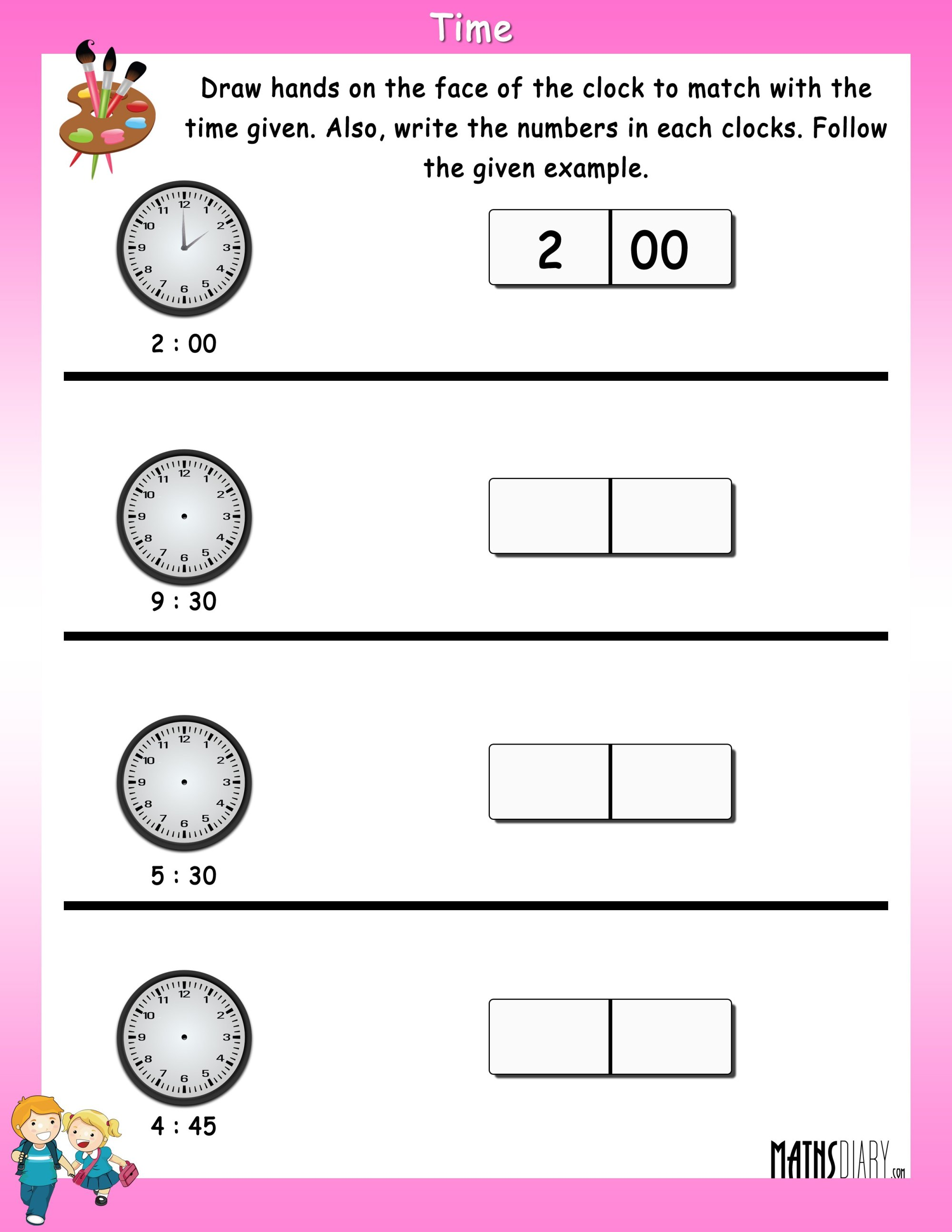 hight resolution of Time – Grade 1 Math Worksheets - Page 2