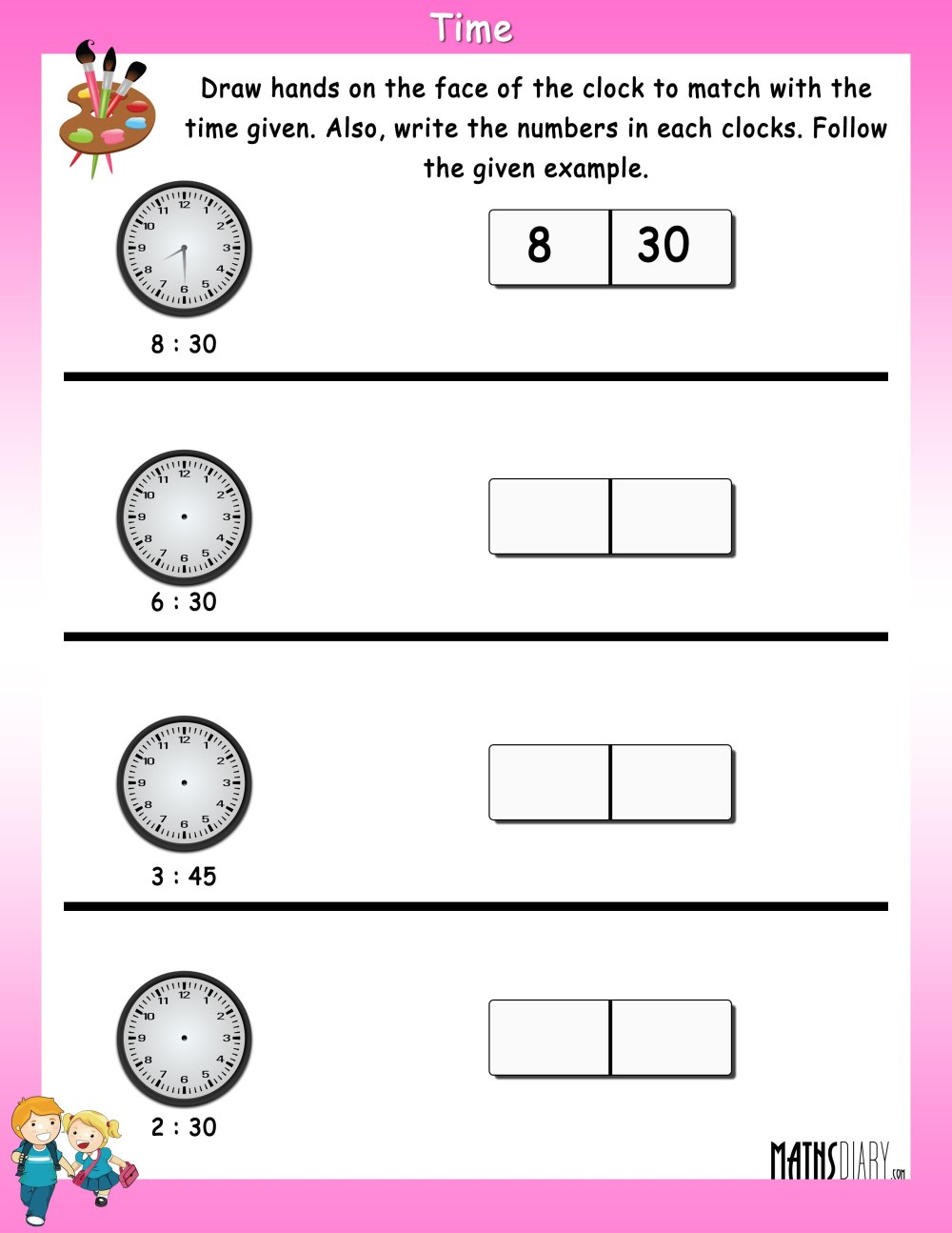 medium resolution of Read the time - Math Worksheets - MathsDiary.com