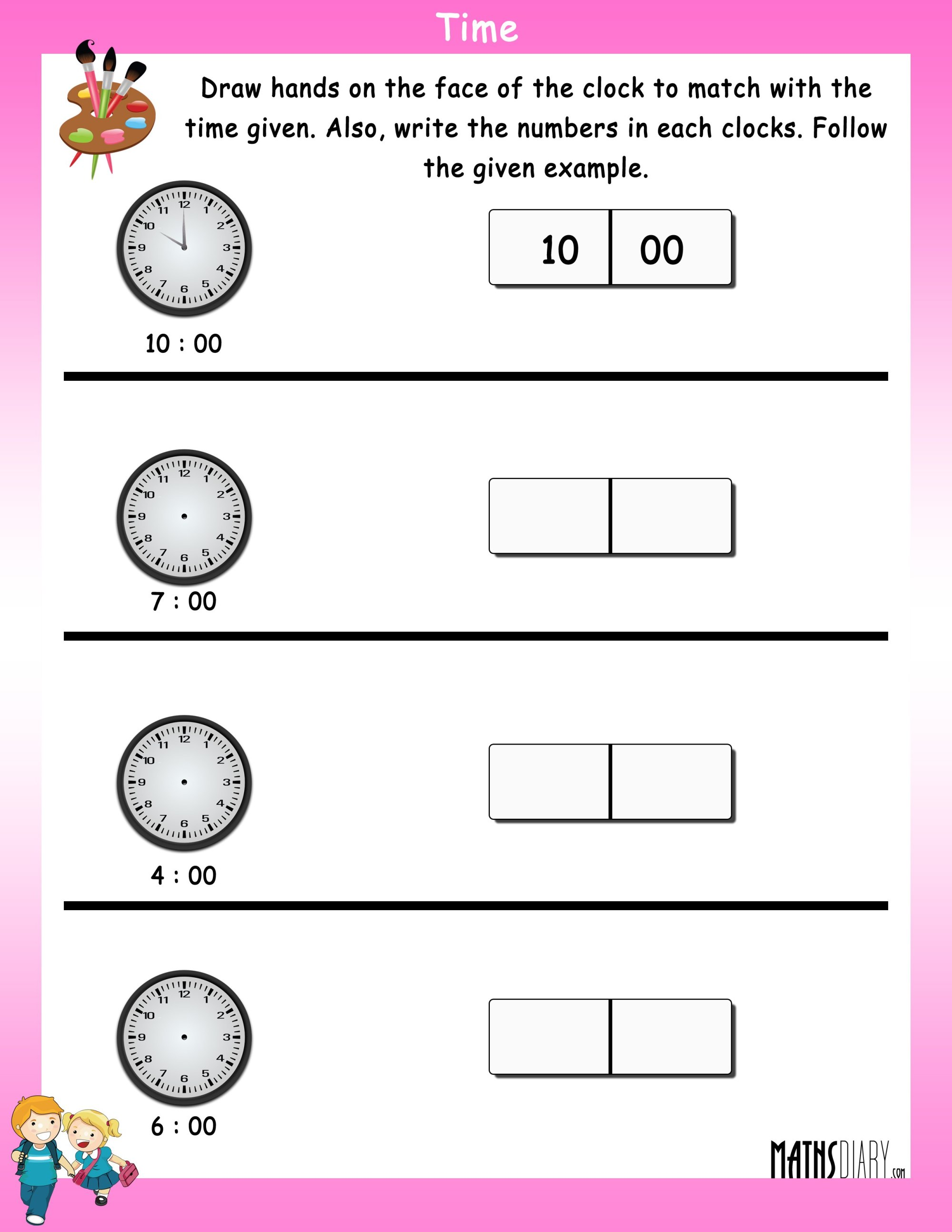 hight resolution of Read the time - Math Worksheets - MathsDiary.com